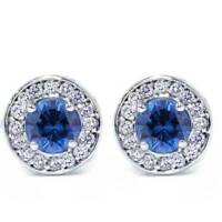 5/8ct Halo Diamond Blue Sapphire Studs 14K White Gold Screw Back