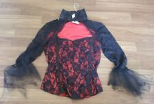 Woman Red Black Victorian Lace Sexy Medium M Halloween Top Vampire Scary Costume