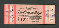 Original 1974 Beach Boys Unused Full Concert Ticket Springfield MA Holland