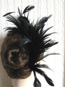 black feather fascinator comb hair clip headpiece wedding party piece
