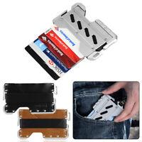 Tactical EDC Wallet Cord Genuine Leather MultiTool RFID Blocking Aluminum Pocket