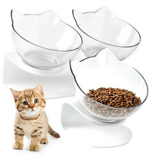 Single/Double Bowl Cat Pet Feeder Elevated Stand Dish Food Water Feed Container
