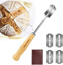 Bread Lame, Bakers Lame Bread Baking Tool Set 5 Sharp Blades & Leather Protector
