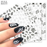 3D Leaf Black White Nail Stickers Nails Art Decoration Nail Decals Hollow