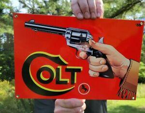 OLD VINTAGE GUN COLT REVOLVERS ARMS PORCELAIN METAL SIGN HUNTING AMMO SHELLS