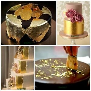 50pcs 100% Edible Genuine Real Pure 24K Gold Leaf DecorateCake Food Artist Lover
