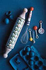 "NWT Anthropologie ATOLL Rolling Pin 16"" New Bone China Wood Geometric Colorful"
