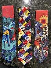 Vintage Ties Silk Necktie Lot of 3 Perry Ellis Portfolio 1990s Made in Usa