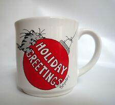 Vintage Sandra Boynton Christmas Mug Cat Hanging Red Ornament Holiday Greetings