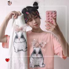 Women Summer fashion Sweet printing Bow Short sleeve T-shirt 2colour