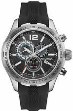 Nautica NAD15512G NST 30 Chronograph Black-Silicone-Band Watch