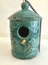 New Hanging Green Celadon Craquelé Glazed Ceramic Birdhouse with Wood Perch