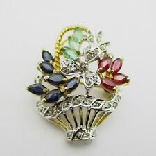 Gorgeous 18k Gold, Diamond, Sapphire, Emerald & Ruby Giardinetti Brooch.