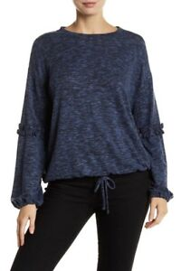 END OF YEAR SALETwo by Vince Camuto Women Size L Blue Marled Knit Shirt Sweater