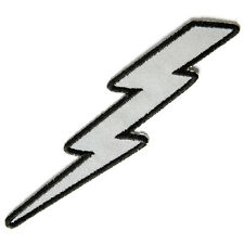 Embroidered Reflective Lightning Bolt Left Sew or Iron on Patch Biker Patch