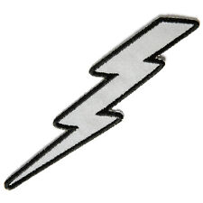 Embroidered Reflective Lightning Bolt Left Iron on Sew on Biker Patch Badge