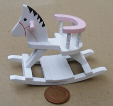 1:12 Scale White & Pink Wooden Rocking Horse Dolls House Nursery Accessory