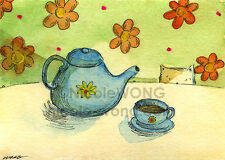ACEO archival PRINT -Tea Time - animal, cat, pets, drink, foodie, snack, flower