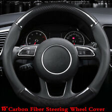 "15"" Universal Carbon Fiber PU Leather Car Steering Wheel Cover For BMW"