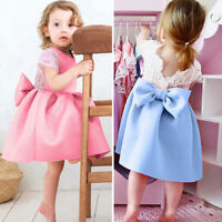 Toddler Baby Girls Bowknot Backless Dress Princess Outfits Clothes Lace Dress
