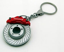 New Genuine Porsche Red Brake Caliper & Disc Keyring Key Ring