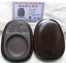 15*10.5*1.7cm Zhaoqing Duan Yan inkstone lotus mandarin duck with Certificate