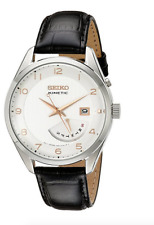 NWOT Men's Seiko SRN049 Black Leather Strap White Kinetic Day/Date Dial Watch
