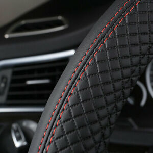 """PU Leather Car Steering Wheel Cover Good Grip Car Accessories For 15""""/37-38CM"""