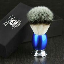 Synthetic Badger Hair Shaving Brush Round Shiny Blue Handle With Chrome Base