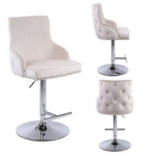 Tufted Bar Stool Chrome Swivel Gaslift Quality, Premium Mechanism Velvet Fabric
