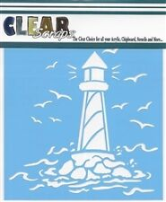 "Clear Scraps 6"" x 6"" stencil ""Lighthouse"" for airbrush, decorative tole paint,"