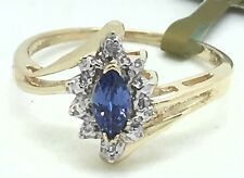 GENUINE 0.40 carats TANZANITE & DIAMONDS 10k Yellow Gold RING *New with tag*