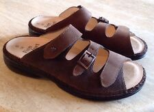 NEW Finn Comfort/Germany Sandal 38 Slide Mule Brown Suede Embossed Leather