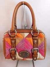 Fossil Small Maddox Patchwork Suede/Leather Satchel Handbag Purple/Pink/Brown