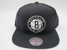 Brooklyn Nets Logo Solid Black Wool Mitchell & Ness NBA Retro Snapback Hat Cap