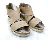 Eileen Fisher Women's Light Tan Buttery Soft Leather Crisscross Sandals Size 10