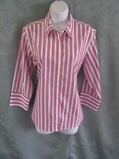 Foxcroft Striped Career Blouse Size 10 Non Iron Shaped Fit