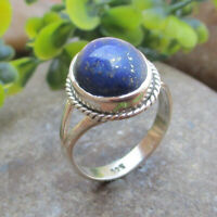 Natural Lapis Lazuli Gemstone Ring 925 Sterling Solid Silver Jewelry - Size 8
