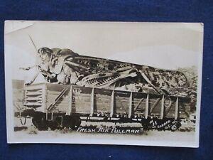 1930s RP Grasshopper Train Car Exaggeration Conard Garden City Kansas Postcard