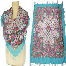 unisex Scarf high quality cotton lurex scarf paisley design Blue white