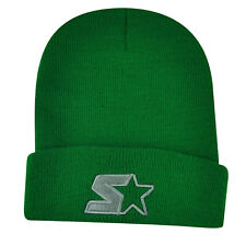 Starter Blank Green Knit Beanie Cuffed Toque Winter Hat Skully Plain Solid Thick