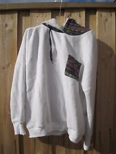 As New GRUNGE 90s WHITE COTTON FAUX FUR BOHO HIPPY HOODIE HOODED JUMPER
