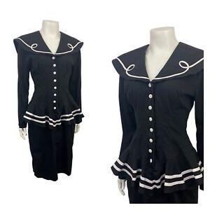 1980s Sailor Dress / Black Cotton Nautical Peplum Dress Long Sleeve XS/S