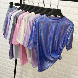 Ladies Sparkle Glitter Bling Laser Holographic Harajuku Womens T Shirt Club Top