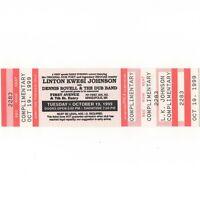 LINTON KWESI JOHNSON Concert Ticket Stub MINNEAPOLIS 10/19/99 FIRST AVENUE Rare