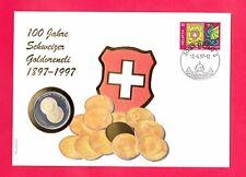GOLD - VRENELI  ** NUMISBRIEF100 JAHRE SCHWEIZER  GOLDVRENELI MIT 500 FRANCS