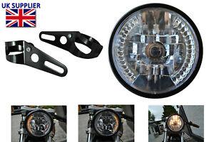 Motorbike Headlight Headlamp with Built In LED Indicators & Fork Brackets