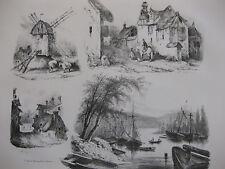Lithographie ancienne originale Bellangé costumes romantisme Port Moulin paysans