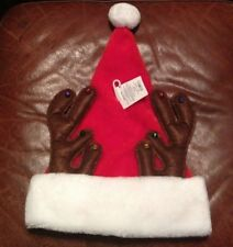 NWT FAUX FUR SANTA CLAUS HAT w/ REINDEER ANTLERS & BELLS ADULT HOLIDAY ACCESSORY