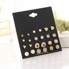12pairs Set Womens Fashion Pearl Crystal Heart Stud Triangle Earrings Jewelry Gold